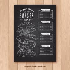 menu template blackboard with burger menu template vector free