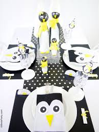 a penguin themed kids christmas holiday tablescape party ideas