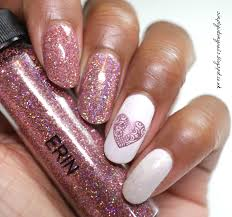 sparkling holographic valentines day manicure simply into my nails