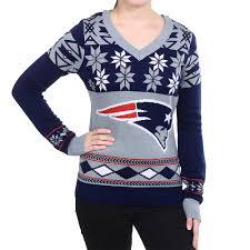 new england patriots big logo women u0027s v neck nfl ugly sweater