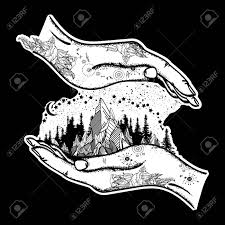 mountains in hands tattoo symbol of travel tourism meditation