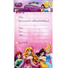 24 birthday party invitations cards envelopes girls princess