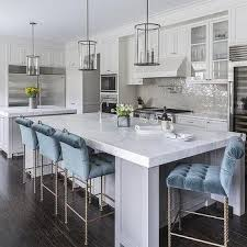 kitchen island counter stools gray kitchen island with blue velvet tufted counter stools