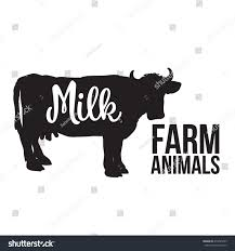 black filled outline cow full height stock vector 414095059