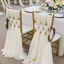 2018 ivory chiffon chair sashes wedding party deocrations bridal