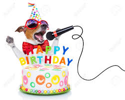 dog as a singing birthday song like stock