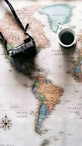 travel wallpaper images World map travel plans camera coffee iphone 6 wallpaper iphone jpg