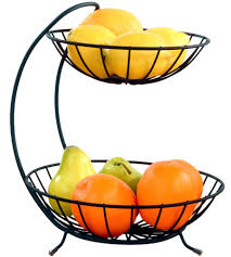 black two tier fruit bowl in bread and fruit baskets