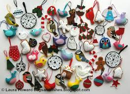 felt christmas bugs and fishes by lupin lots of felt christmas decorations