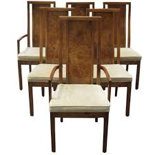 Thomasville Dining Room Table And Chairs by Thomasville Vintage Burled Wood Highback Set Of Six Dining Chairs