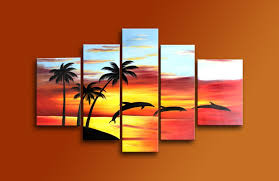 amazon com sangu 100 hand painted oil painting sunset coconut