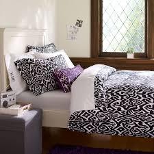 Williams Sonoma Bedding Urban Ikat Organic Duvet Cover Pillowcases Black Pbteen