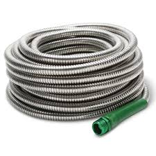 Cool Hoses by The Indestructible Stainless Steel Hose 100 U0027 Hammacher Schlemmer