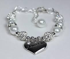 flower girl charm bracelet flowergirl bracelet pearl charm bracelet wedding jewelry