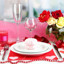Valentine S Day Tablecloth by Table Setting In Honor Of Valentine U0027s Day On Room Background Stock