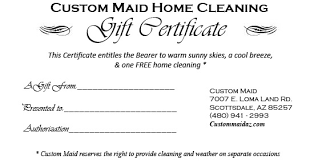 custom gift certificates gift certificate all occasions custom house cleaning of