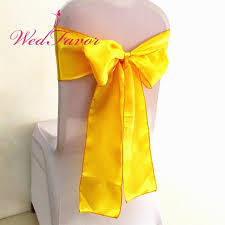 yellow chair sashes 100pcs neon yellow yellow satin wedding chair sash banquet