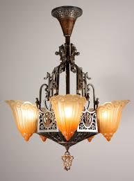 Art Nouveau Chandelier Wonderful Art Deco Chandelier Antique Five Light Art Deco Slip