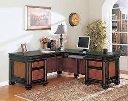 Espresso Office Desk L Shaped Two Tone Espresso Reddish Brown Executive Office Desk