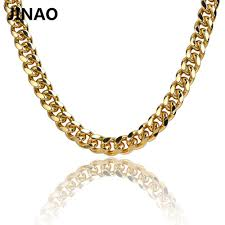 gold cuban necklace images Jinao gold cuban link chain necklace hip hop miami iced out cuba jpg