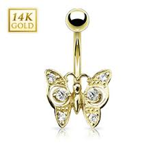 high end belly rings by tummytoys australia 14k white gold butterfly