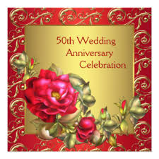 Greetings For 50th Wedding Anniversary Rose 50th Wedding Anniversary Party Invitations U0026 Announcements