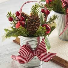 christmas floral arrangement in metal can 3702380