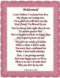 matron of honor poem bridesmaid poem