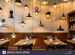 unusual interior design with lights of corner room restaurant