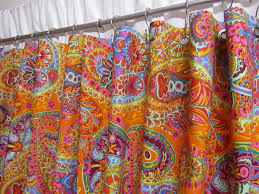boho shower curtain paisley shower curtain tangerine orange