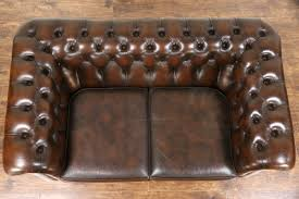 Brown Leather Loveseat Sold Chesterfield Tufted Brown Leather Vintage Scandinavian