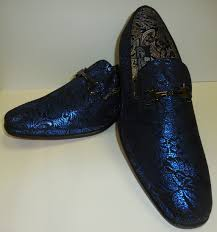 mens incredible black shiny royal blue foil dress loafers after