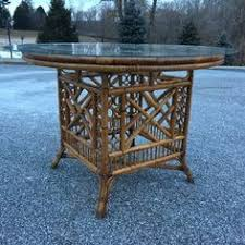 vintage glass top dining table mcguire furniture hexagonal dining table in black bamboo ba 17gg