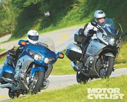 bmw k1600gtl vs honda gl1800 gold wing mc comparo motorcyclist