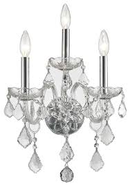 Silver Candle Wall Sconces Traditional Venetian 3 Light Clear Crystal Candle Wall Sconce