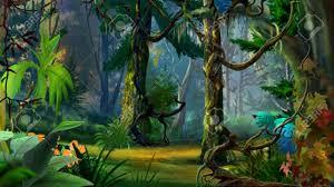 hidden forest path in summer digital painting illustration
