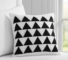 Nursery Decorative Pillows Belgian Flax Linen Triangle Embroidered Nursery Decorative