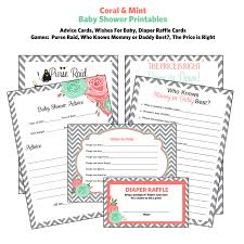 baby shower games diaper raffle tickets advice cards chevron
