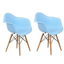 joveco modern armchair with wooden leg set of 2 light blue