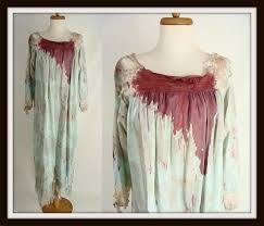 Ghost Halloween Costume Custom Bloody Nylon Lace Nightgown Grandma Zombie Ghost