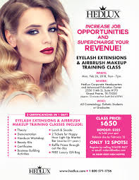 free makeup classes hedlux eyelash extensions and aibrush makeup certification event