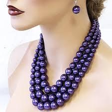 pearls necklace set jewellery images Linqla jewelry purple pearl necklace earrings set poshmark jpeg