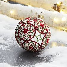 green flocked snowflake ornament crate and barrel