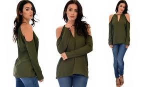 open shoulder blouse lyss loo s open shoulder blouse top groupon