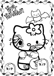 kitty halloween zombie coloring coloring pages