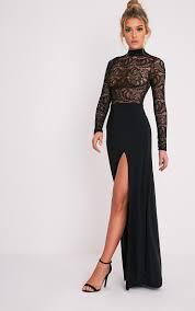 maisie black lace top split side maxi dress dresses