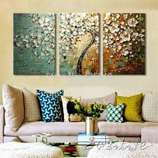 aliexpress com buy 3 piece hand painted flower tree cuadros oil