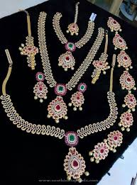 wedding earring necklace set images One gram gold bridal ad sets gold wedding jewellery sets gold jpg