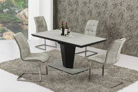 Extending Large Grey Stone Effect Glass Dining Table And  Chairs - Stone kitchen table