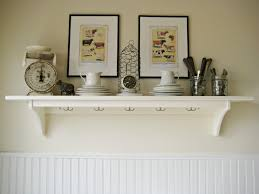 White Wooden Furniture Corner White Wooden Floating Shelves On Cream Painted Wall As Well